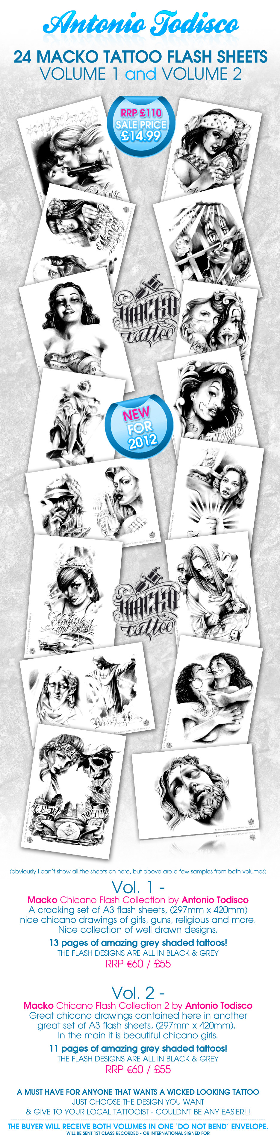 macko tattoo flash sheets designs gangster chicano chicks